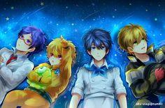 Haru, Nagisa, Makato, Rei. Iwaboti Swim Club as children