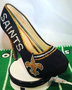 "d11343b81bb5 Sparkle Custom Heels on Instagram  ""🏈🏈🏈🏈🏈🏈🏈🏈🏈🏈 Get them before  Super Bowl Sparklecustomheels.com Sparklecustomheels.com  saints   rhinestoneheels ..."