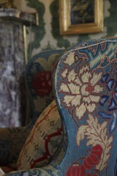 Colorful antique needlepoint chair in the treasure-filled Arlington Court estate, UK English Country Style, Country Charm, English Countryside, Textiles, English Decor, Upholstered Furniture, Antique Furniture, Vinyl Flooring, Take A Seat