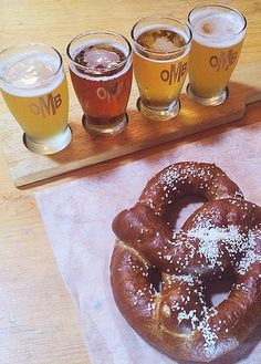 A flight of beers and a giant warm pretzel. Heaven.