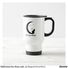 Halloween Cat, Stars, and Moon in Silhouette Travel Mug Halloween Owl, Halloween Queen, Irony Humor, Skull Cupcakes, Zombie Gifts, Moon Silhouette, The Boogie, Halloween Silhouettes, Oogie Boogie