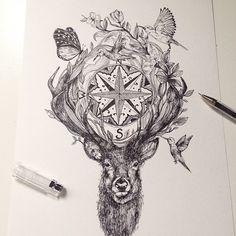 Compass Deer - Illustration ink © Alfred Basha