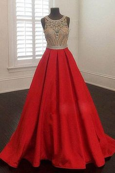 Sequins prom dress, ball gown, cute sequins red satin long evening dress for prom 2017