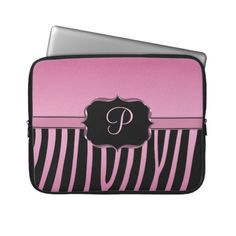 Pink and Black Zebra Monogram Laptop Sleeves. And it has a P on it! I NEED this!