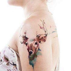 Deer Watercolor tattoo #patyflamingos http://patyflamingos.tumblr.com/