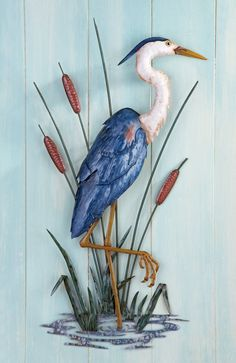 Beautifully Hand Painted ~ Tall Blue Heron ~ Wall Sculpture Cattails Marsh #NatureBirdsBlueHeron