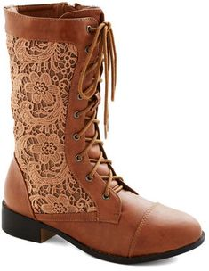 Brown boots with lace inserts - so want these!