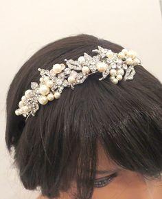 Vintage inspired Bridal headband, Rhinestone and pearl headband, Bridal tiara, Wedding headpiece, Rhinestone leaf