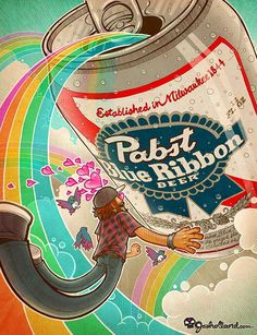 12 Pabst Blue Ribbon Innovations - From Booze-Bearing Skateboards to Picasso-Inspired Ale Art #alcohol #advertising