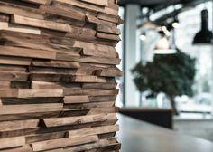 Woodlab Noyer - Bardage en bois de récupération issu de résidus de découpe - Showroom de Paris - La Parqueterie Nouvelle