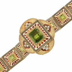 Archaeological Revival Gold, Peridot, Pearl and Enamel Bracelet/Brooch Combination, France  18 kt., the modified clover-shaped brooch centering one emerald-cut peridot approximately 18.00 cts., quartered by 4 rose-cut diamonds, framed by white, black and brownish orange enamel with a geometric design, accented by gold, surrounded by four semicircular finely engraved plaques centering a triad of 12 pearls accented by 4 rose-cut diamonds, framed by brownish orange enamel, completed by six…