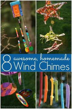8 Awesome homemade wind chimes for kids to make.  Gorgeous ornaments to brighten your backyard or patio, and they won't cost you a dime to make!  Happy Hooligans