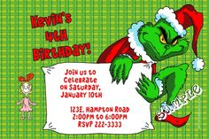 Grinch Christmas Party Invitations - Get these cards RIGHT NOW. Design yourself online, download and print IMMEDIATELY! Or choose my printing services. No software download is required. Free to try!