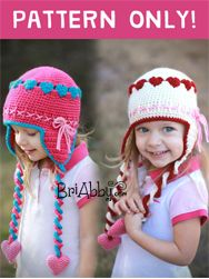 Crochet Sweetheart Hat pattern available at www.briabby.com. Perfect for Valentine's Day or just an adorable hat for the ultimate girly girl!