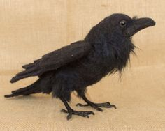 Katrina the Raven: Needle felted animal sculpture by The Woolen Wagon
