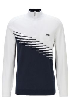 BOSS - Colour-block golf sweater in water-repellent fabric Golf Sweaters, Golf Shirts, Blue Sweaters, Mens Winter Sweaters, Men Sweater, Colour Block, Color Blocking, Burberry Men, Gucci Men