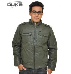 Duke Men Soft Leather Winter Olive Jacket