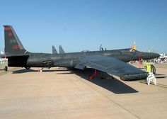 """Lockheed U2.  """"The Dragon Lady"""" - Lockheed U2 spy plane. This plane can fly at 70,000 ft, a.k.a. 13 MILES above the ground. Pilots have gotten the bends from flying it."""