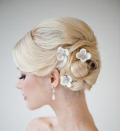 Silk Flower Hairpins Bridal Hairpins Weddiing by PowderBlueBijoux, $29.00
