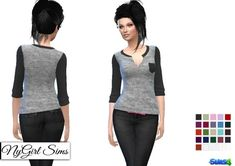 NY Girl Sims: Gray Jersey Knit Pocket Henley with Colored Sleeve and Collar • Sims 4 Downloads