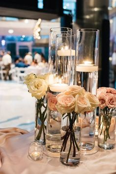 chic simple wedding centerpiece idea; Click to see more gorgeous details about this Colorado wedding. photo: Sonja K Photographer and Ali and Garrett