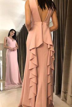 Pink Prom Dress,Chiffon Prom Dress,Mermaid Prom Dresses,V-N V Neck Prom Dresses, Pink Prom Dresses, Pink Dress, Short Dresses, Bridesmaid Dresses, Ruffles, Vetement Fashion, Dress Vestidos, Cocktail Dresses