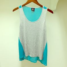 Adorable Cotton Front/Sheer Back High-Low Top Super cute boutique top that's a little shorter in the front than the back. Completely sheer real blue back with a comfy cotton grey front. Can be dressed up or used as a cute bikini cover up! bobeau Tops Tank Tops