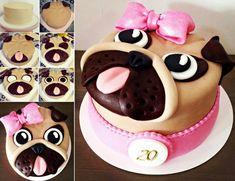 How to DIY Adorable Pug Cake | www.FabArtDIY.com