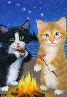 Tuxedo tabby kittens cats campfire smores stars beach original aceo painting art