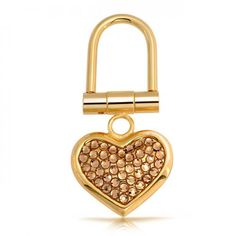 Gold-Plated Gold Austrian Crystal Heart-Shaped Key Chain