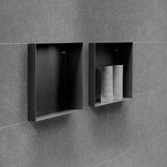 Colour BoX Anthracite Bathroom Towel Decor, Bathroom Wall, Master Bathroom, Shower Storage, Shower Shelves, Bathroom Design Small, Bathroom Interior Design, Black Bathroom Taps, Bathroom Toilets