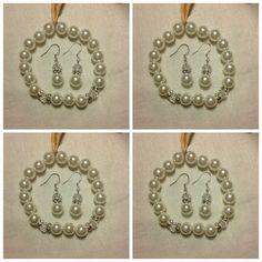 Bridal jewelry set, bridesmaid bracelet and earrings, pearl wedding set, swarovski pearl bridal jewelry, bridesmaid jewelry,pearl bridal set