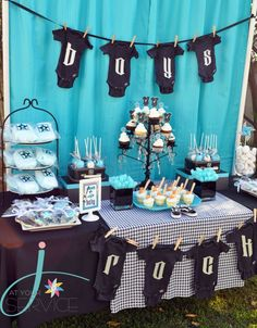 "Cute Baby Shower Idea: ""Boys Rock"" with rock 'n roll themed decor!"