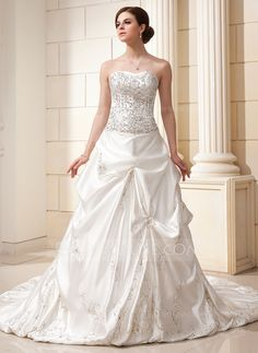 THIS ONE IS IT!!! IM IN LOVE!!!Wedding Dresses - $236.99 - Ball-Gown Sweetheart Chapel Train Satin Wedding Dress With Embroidered Ruffle Beading Sequins (002012576) http://jjshouse.com/Ball-Gown-Sweetheart-Chapel-Train-Satin-Wedding-Dress-With-Embroidered-Ruffle-Beading-Sequins-002012576-g12576