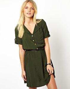ASOS Shirt Dress With Military Detail