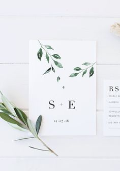Minimal Leaf Wedding Invitation, printable wedding invitation, elegant wedding invitation, green and white foliage wedding, affordable wedding invitation / Etsy / by Rachel Vanderzon