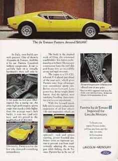 """paperink id: ads6513 Pantera de Tomaso Sports Coupe 1971 Ford Lincoln Mercury AD Sports Car Auto ORIGINAL PERIOD Magazine Advertisement AD measuring approximately 8"""" x 11"""" AD is in Very Good Condition"""