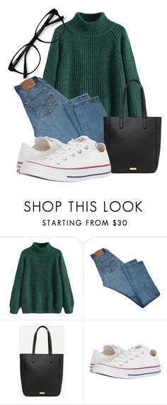 """Basic"" by lululafitte on Polyvore featuring moda, Levi's, Converse y EyeBuyDirect.com"