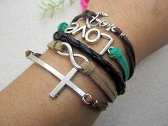 Silvery wish bracelet  Retro silvery cross and Love by Richardwu, $7.35