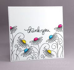 – Thank You (MASKerade) This week's Splitcoaststampers Featured Stamper is Her gallery is full of fun, clever projects and I chose this one as my inspiration: I focsued on Amy's: -outline floral images with colou Diy Cards Thank You, Cards Diy, Thank You Notes, Karten Diy, Painting For Kids, Homemade Cards, Flower Designs, Hand Lettering, Cardmaking