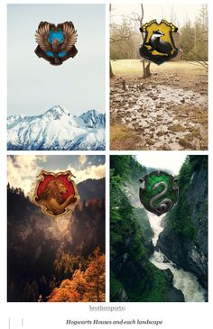 Hogwarts houses and their landscapes //// I like Gryffindor's and Slytherin's…