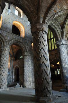 XII sec. - Merveilles romanes, église abbatiale, Dunfermline, Fife, Ecosse, Grande-Bretagne, Royaume-Uni.
