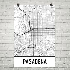 Pasadena CA Map, Art, Print, Poster, Wall Art From $29.99 - ModernMapArt