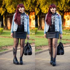 De Coturno e Spikes: Look do Dia: Old is Cool - Slayer Shirt, Leather Skirt…