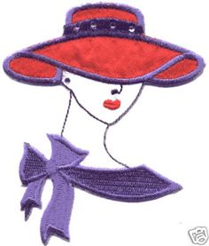 RED HAT FASHION LADY (C) EMBROIDERED IRON ON APPLIQUE