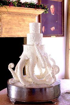 Octopus Cake by Joshua John Russell Unusual Wedding Cakes, Cool Wedding Cakes, Beautiful Cakes, Amazing Cakes, Octopus Cake, Nautical Cake, Nautical Wedding, John Russell, Beach Cakes