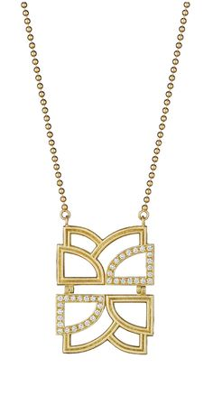 A modern Art Deco-inspired geometric gold and diamond pendant necklace by Doryn Wallach