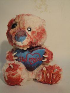 Undead Bearly Zombie OOAK Teddy Bear Be Mine by TheDarkerMoon, $58.00