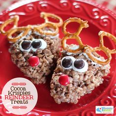 If you love Rice Krispies Treats, here's another fun variation for the holidays. These Christmas treats feature Santa's reindeer, and Cocoa Krispies instead of the regular Rice Krispies. Homemade Christmas Treats, Christmas Snacks, Christmas Cooking, Christmas Goodies, Holiday Treats, Holiday Recipes, Christmas Ideas, Christmas Recipes, Rice Crispy Christmas Treats