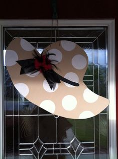 Kentucky Derby Hat Wooden Door Hanger by PinkWhimsyCollection
